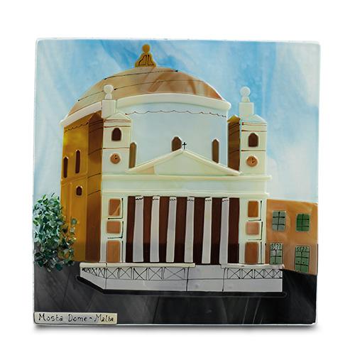 Mosta Dome (28cm) Malta,Glass Pictures & Scenes Malta, Glass Pictures & Scenes, Mdina Glass