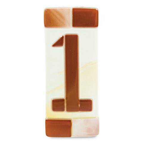 Brown House Number Malta,Glass Individual House Numbers Malta, Glass Individual House Numbers, Mdina Glass