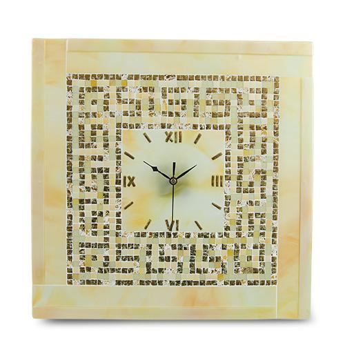 Cream & Gold Greek Clock Malta,Glass Clocks Malta, Glass Clocks, Mdina Glass
