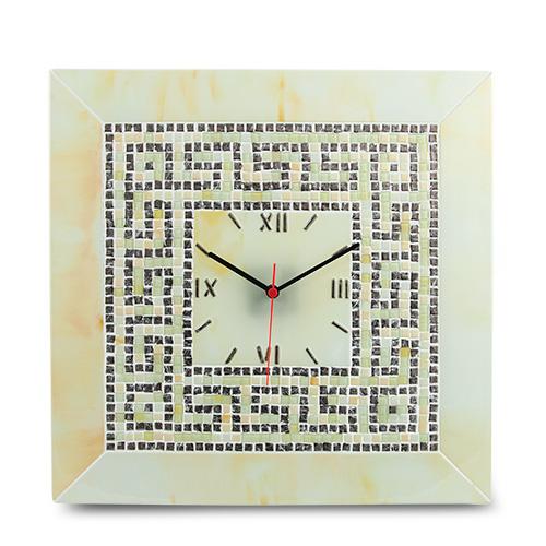 Cream & Silver Greek Clock Malta,Glass Clocks Malta, Glass Clocks, Mdina Glass