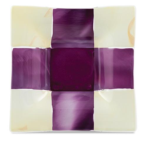 Pink & Cream Squares Square Dish  Malta,Glass Plates, Dishes & Bowls Malta, Glass Plates, Dishes & Bowls, Mdina Glass