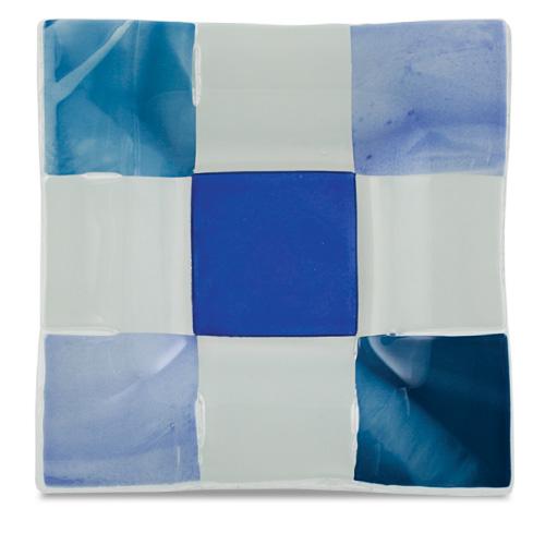 Blue & White Squares Square Dish  Malta,Glass Plates, Dishes & Bowls Malta, Glass Plates, Dishes & Bowls, Mdina Glass