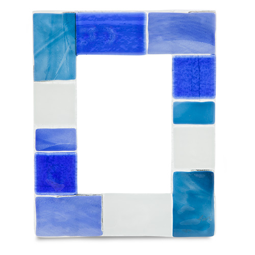 Blue & White Squares Frame Malta,Glass Picture Frames Malta, Glass Picture Frames, Mdina Glass
