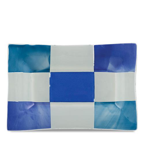Blue & White Squares Rectangle Dish  Malta,Glass Blue & White Squares Malta, Glass Blue & White Squares, Mdina Glass
