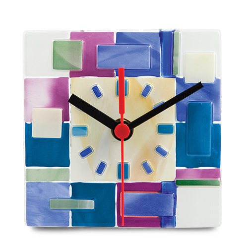 Pink & Blue Textured Square Clock Malta,Glass Clocks Malta, Glass Clocks, Mdina Glass