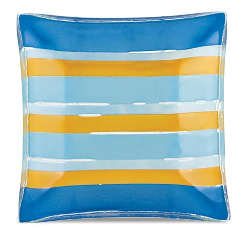 Blue & Yellow Lines Square Dish  Malta,Glass Plates, Dishes & Bowls Malta, Glass Plates, Dishes & Bowls, Mdina Glass