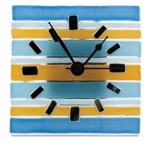 Blue & Yellow Lines Square Clock  Malta,Glass Clocks Malta, Glass Clocks, Mdina Glass