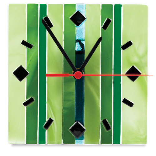 Green Lines Square Clock  Malta,Glass Clocks Malta, Glass Clocks, Mdina Glass
