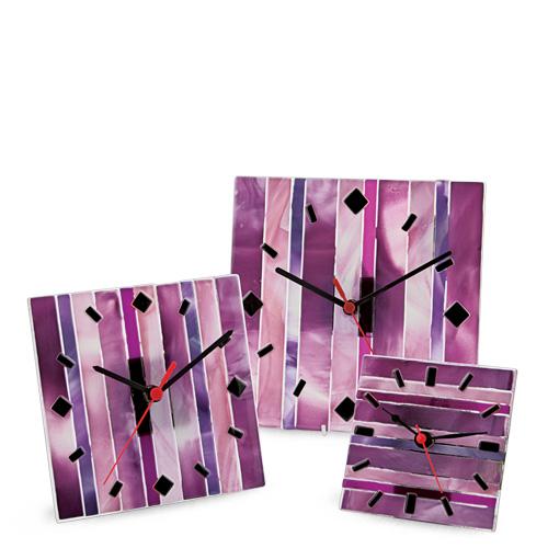 Pink Line Clock Malta,Glass Clocks Malta, Glass Clocks, Mdina Glass