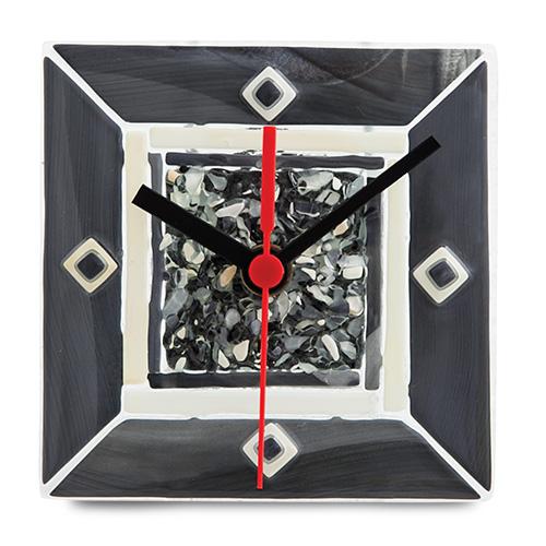 Grey With Pieces Clock  Malta,Glass Clocks Malta, Glass Clocks, Mdina Glass