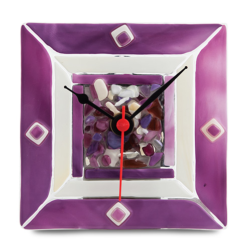 Pink With Pieces Clock  Malta,Glass Clocks Malta, Glass Clocks, Mdina Glass