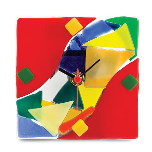 Red Maze Clock Malta,Glass Clocks Malta, Glass Clocks, Mdina Glass