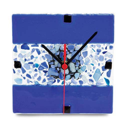 Blue With Mini Multi Clock Malta,Glass Clocks Malta, Glass Clocks, Mdina Glass