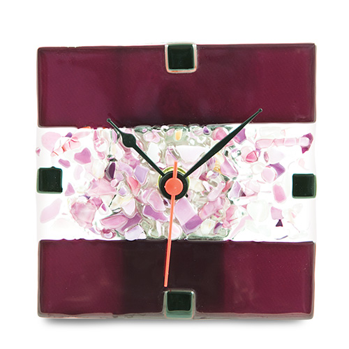 Purple With Mini Multi Clock Malta,Glass Purple with Mini Multi Malta, Glass Purple with Mini Multi, Mdina Glass