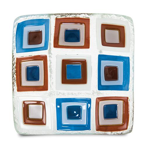 Blue/Brown Pyramids Square Dish Malta,Glass Plates, Dishes & Bowls Malta, Glass Plates, Dishes & Bowls, Mdina Glass
