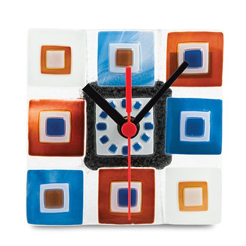 Blue/Brown Pyramids Clock  Malta,Glass Clocks Malta, Glass Clocks, Mdina Glass
