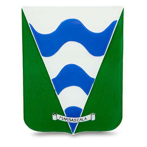 Town Crest: Marsascala Malta,Glass Town Crests Malta, Glass Town Crests, Mdina Glass