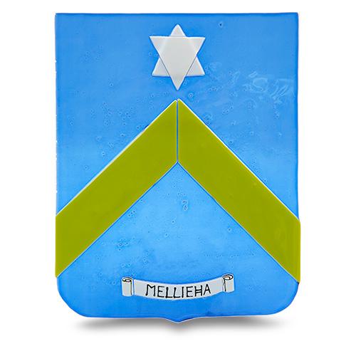 Town Crest: Mellieha Malta,Glass Town Crests Malta, Glass Town Crests, Mdina Glass