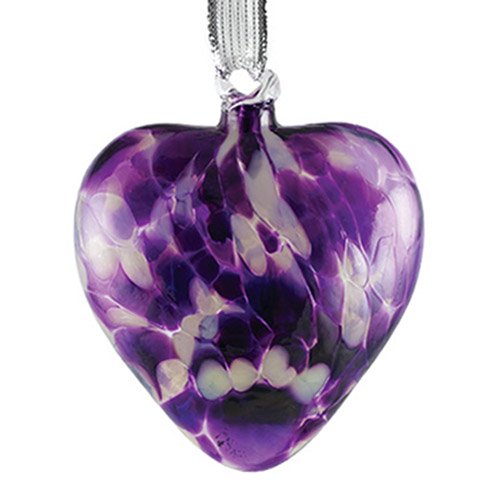 Candy Purple Heart Bauble Malta,Glass Personalised Baubles Malta, Glass Personalised Baubles, Mdina Glass