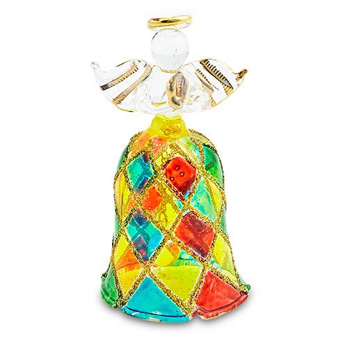 Bell Angel (with multi coloured diamonds) Malta,Glass Decorative Angels Malta, Glass Decorative Angels, Mdina Glass