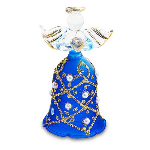Bell Dark Blue Angel (with gold) Malta,Glass Decorative Angels Malta, Glass Decorative Angels, Mdina Glass