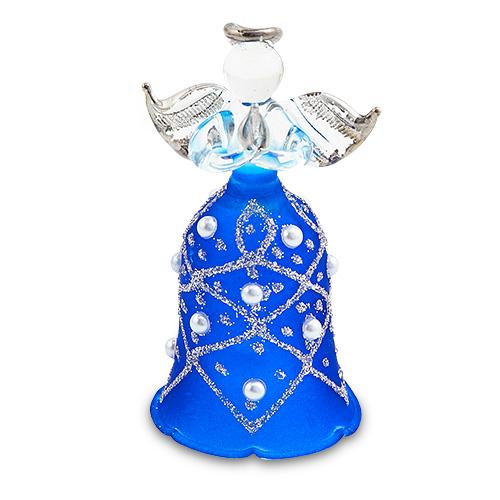Bell Dark Blue Angel (with silver) Malta,Glass Decorative Angels Malta, Glass Decorative Angels, Mdina Glass