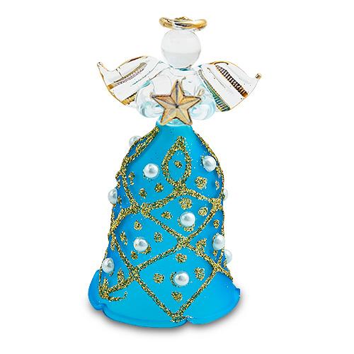 Malta,  Malta,Glass Christmas Malta,Glass Christmas, Bell Light Blue Angel (with gold) Malta, Mdina Glass Malta