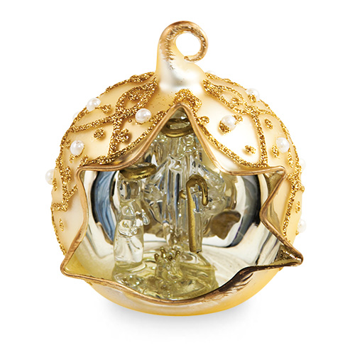 Small Round Gold Crib with Pearls Malta,Glass Decorative Cribs Malta, Glass Decorative Cribs, Mdina Glass
