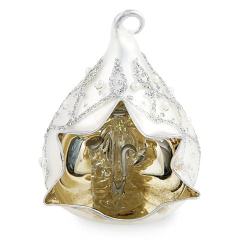Small Triangle Silver Crib with Pearls Malta,Glass Decorative Cribs Malta, Glass Decorative Cribs, Mdina Glass