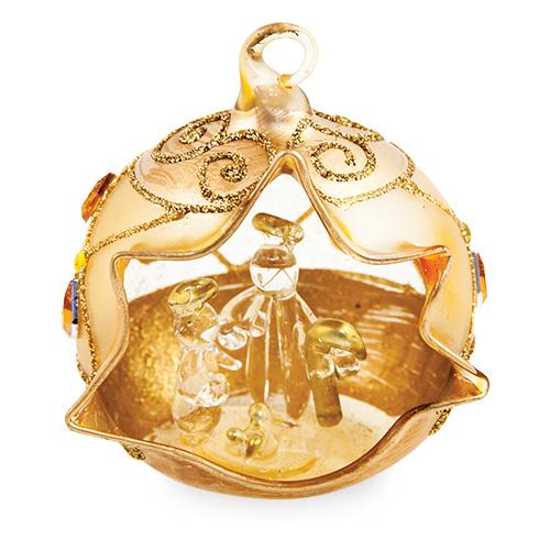 Small Round Gold Crib with Diamonds Malta,Glass Decorative Cribs Malta, Glass Decorative Cribs, Mdina Glass