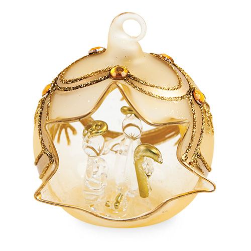 Small Round Gold Crib with Jewels Malta,Glass Decorative Cribs Malta, Glass Decorative Cribs, Mdina Glass