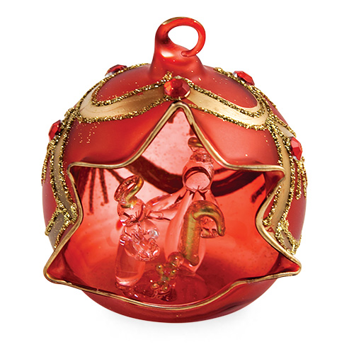 Small Round Red Crib with Jewels Malta,Glass Decorative Cribs Malta, Glass Decorative Cribs, Mdina Glass