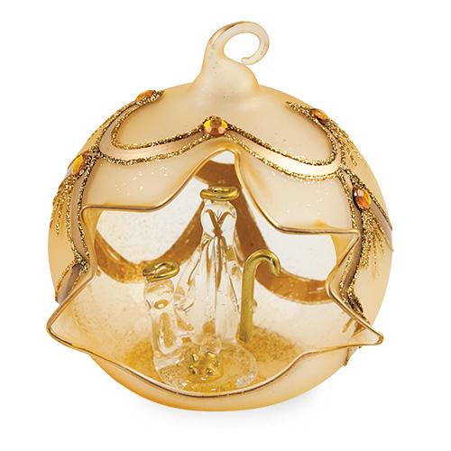 Medium Round Gold  Crib with Jewels Malta,Glass Decorative Cribs Malta, Glass Decorative Cribs, Mdina Glass