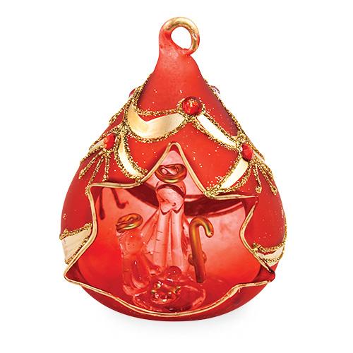 Small Triangle Red Crib with Jewels Malta,Glass Decorative Cribs Malta, Glass Decorative Cribs, Mdina Glass