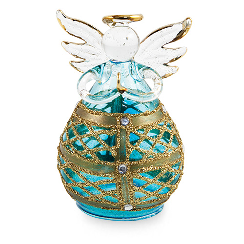 Round Blue Angel with Net Malta,Glass Decorative Angels Malta, Glass Decorative Angels, Mdina Glass