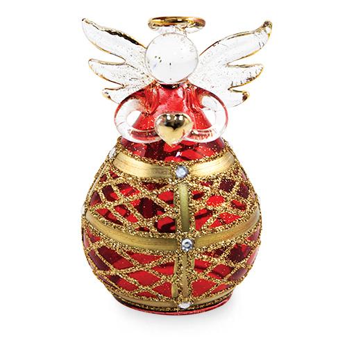 Round Red Angel with Net Malta,Glass Decorative Angels Malta, Glass Decorative Angels, Mdina Glass