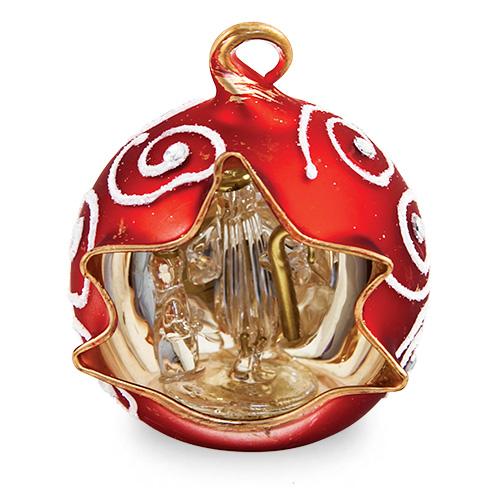 Small Round Red Crib with Swirls Malta,Glass Decorative Cribs Malta, Glass Decorative Cribs, Mdina Glass