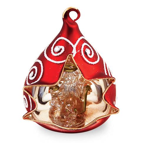 Small Triangle Red Crib with Swirls Malta,Glass Decorative Cribs Malta, Glass Decorative Cribs, Mdina Glass