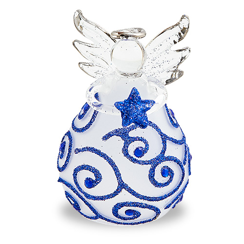 Round Frosted Angel (with dark blue) Malta,Glass Decorative Angels Malta, Glass Decorative Angels, Mdina Glass