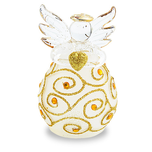Round Frosted Angel (with gold) Malta,Glass Decorative Angels Malta, Glass Decorative Angels, Mdina Glass