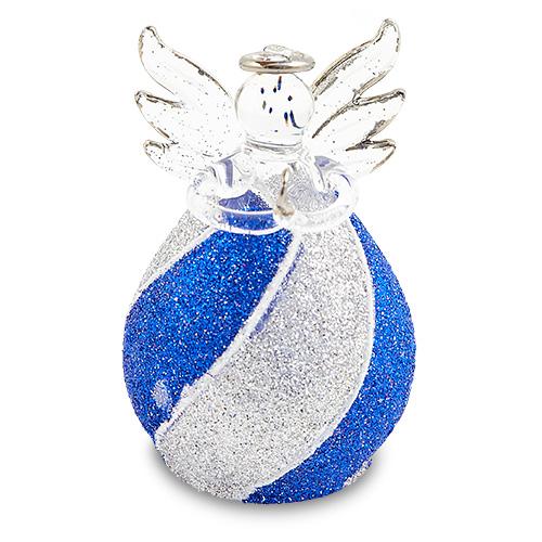 Round Blue & Silver Stripes Angel Malta,Glass Decorative Angels Malta, Glass Decorative Angels, Mdina Glass