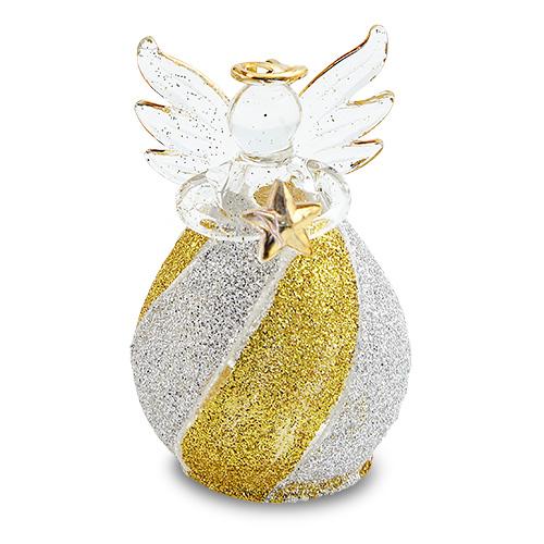 Round Gold & Silver Stripes Angel Malta,Glass Decorative Angels Malta, Glass Decorative Angels, Mdina Glass
