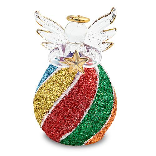 Round Multi Coloured Stripes Angel Malta,Glass Decorative Angels Malta, Glass Decorative Angels, Mdina Glass