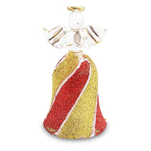 Bell Red & Gold Angel Malta,Glass Decorative Angels Malta, Glass Decorative Angels, Mdina Glass