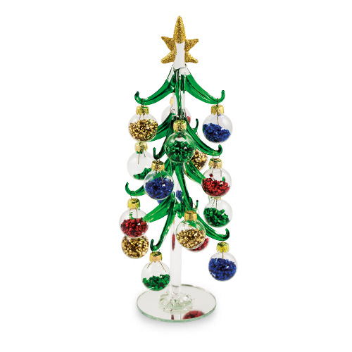 large christmas tree baubles with tinsel