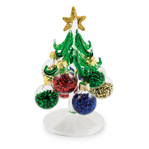 extra small christmas tree baubles with tinsel