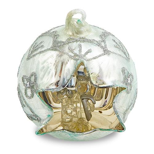 Medium Round Silver Crib Malta,Glass Decorative Cribs Malta, Glass Decorative Cribs, Mdina Glass